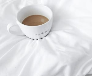 coffee, white, and bed image