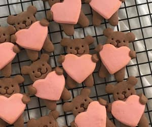 pink, heart cookies, and bears with hearts image