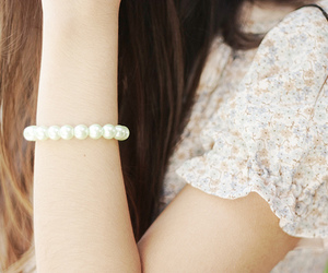 girl, pearls, and bracelet image