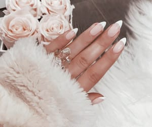pink and white, nail inspo, and nail goals image