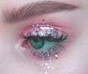 makeup, eye, and pink image