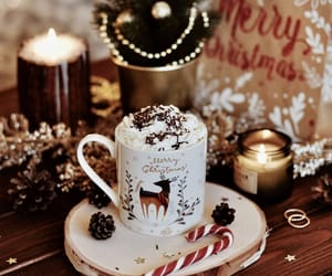 candle, coffee, and merry christmas image