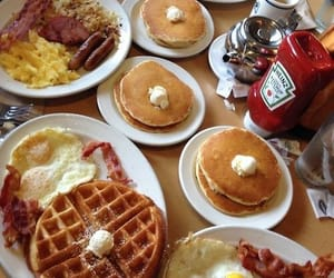 bacon, breakfast, and pancakes image