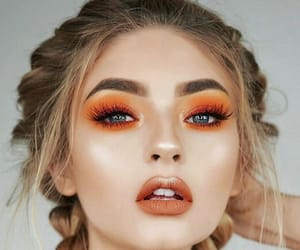 makeup, girl, and orange image