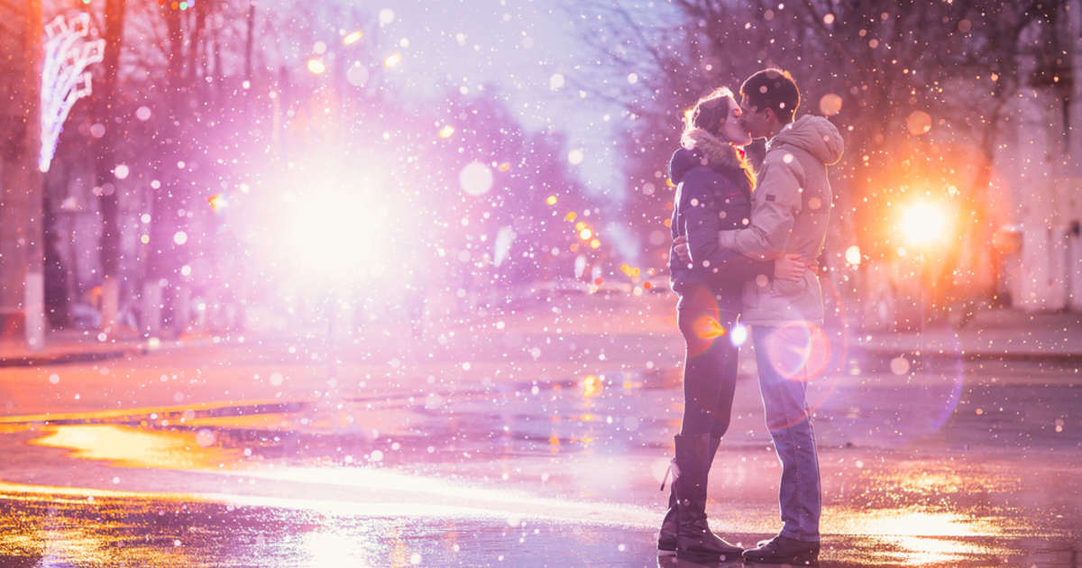 article, couple, and snow image