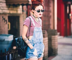 dungarees, lipstick, and overalls image