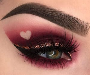 makeup, heart, and eyes image