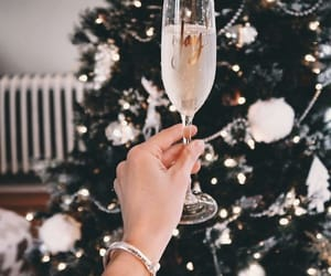 christmas, champagne, and winter image