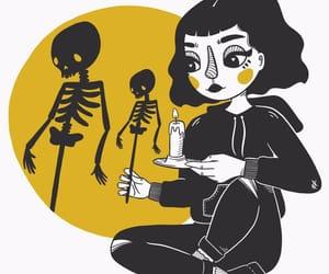 art, illustration, and black image