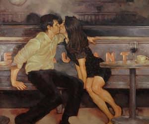 couple, kiss, and art image