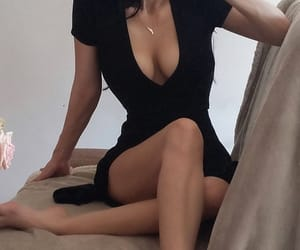 legs, mode, and black dress image