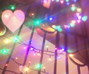 christmas light, heart, and colors image