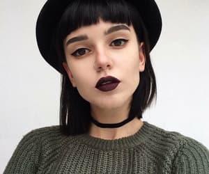 girl, makeup, and black image