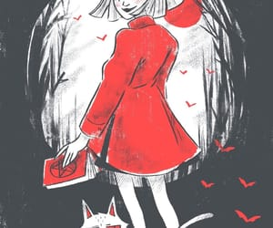 black and red, Witches, and sabrina image