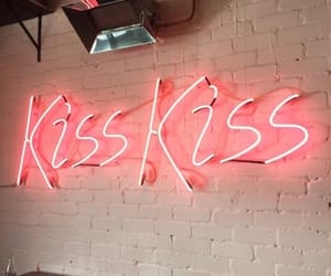 kiss, neon, and pink image