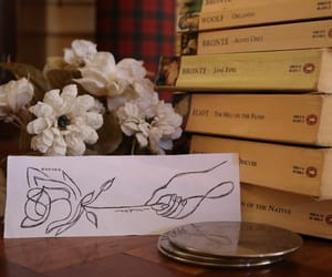 books, flowers, and old image