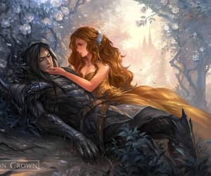 fantasy art, forbidden love, and vampire love image
