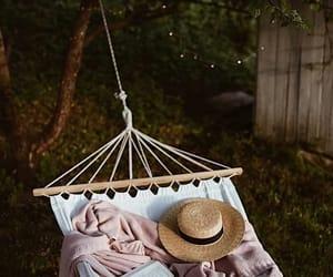 book, hammock, and garden image