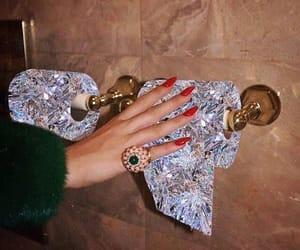 girl, nails, and diamonds image