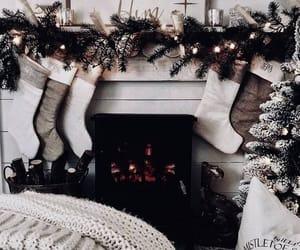 christmas, fireplace, and stockings image