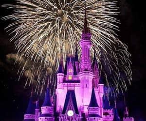 disney, fireworks, and castle image