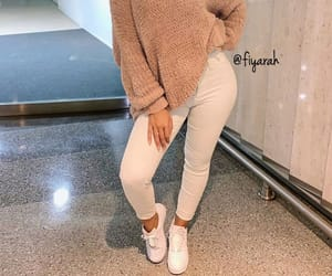 shoes sneakers, pullover beige, and goal goals life image