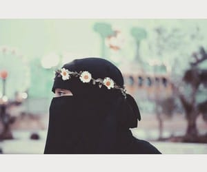 flowers, islam, and niqab image