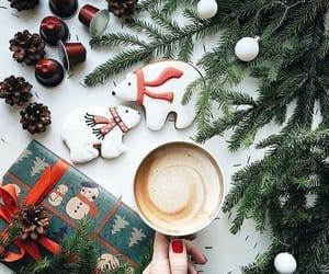 christmas, coffee, and gift image