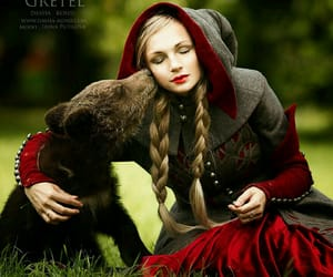 bear, girl, and green image