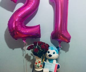 balloons, birthday, and roses image