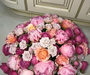 bouquet, roses, and peonies image