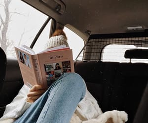 book, car, and girl image