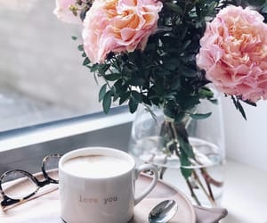 coffe, flowers, and good morning image