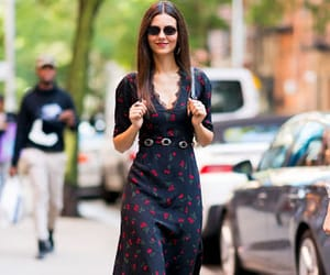 floral dress, street style, and glasses image