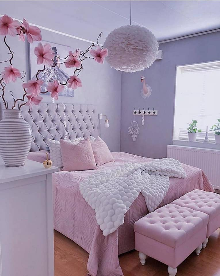 home, pink, and bedroom image