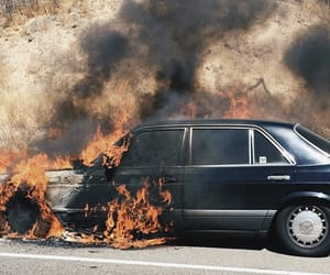 car, burn, and fire image