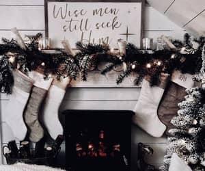 christmas, fireplace, and holiday image