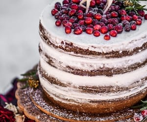 cake, christmas, and cranberries image