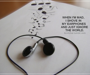 music, earphones, and quotes image