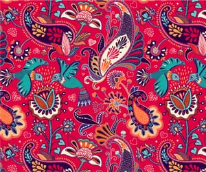 flowers, hearts, and paisley image