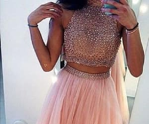 pink prom dress, high neck prom dress, and prom dress ball gown image