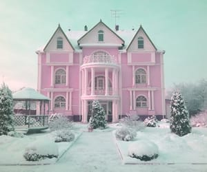 pink, house, and snow image