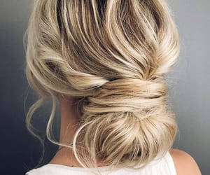 blond, blonde, and bun image