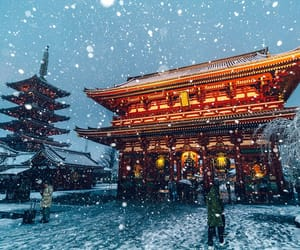 asian, lights, and snow image