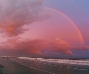 rainbow, sky, and pink image