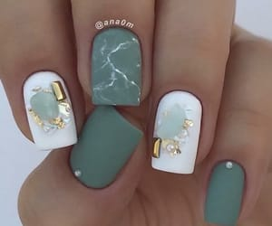 green, green nails, and marble image