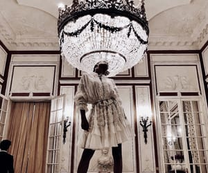 chandelier, dress, and girl image