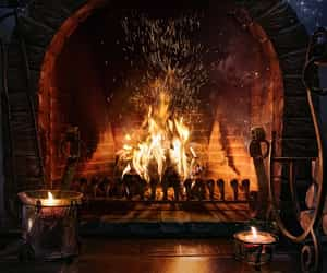 candlelight, fireplace, and warmth image