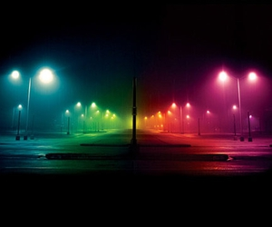 parking lot and rainbow lights image