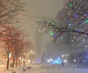 snow, winter, and lights image